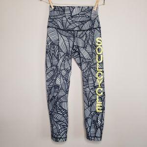 Lululemon Soulcycle wunder under roll down leggings banana print size 4